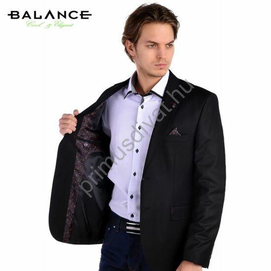 Balance anyagában apró mintás, két slicces karcsúsított fekete zakó