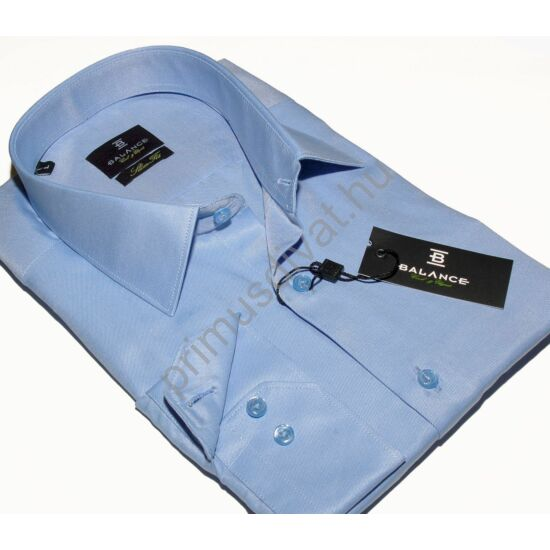 Balance normál galléros, egyszínű világoskék pamutszatén, slim-fit hosszú ujjú ing