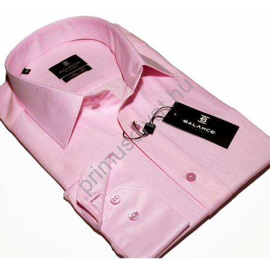 Balance normál galléros, egyszínű rózsaszín pamutszatén, slim-fit hosszú ujjú ing