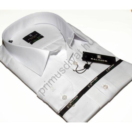 Balance normál galléros, egyszínű fehér pamutszatén, slim-fit hosszú ujjú ing