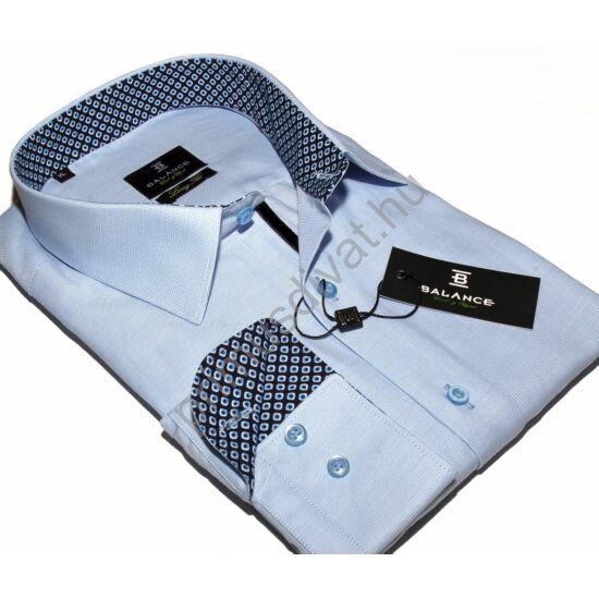 Balance hosszított fazonú, karcsúsított hosszú ujjú anyagban apró mintás világoskék ing