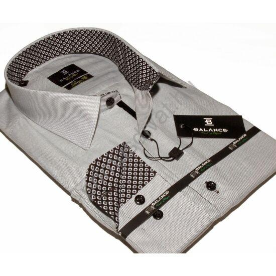 Balance hosszított fazonú, karcsúsított hosszú ujjú anyagban apró mintás szürke ing