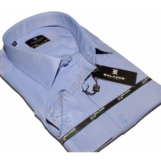 Balance hagyományos szabásvonalú, anyagában szövött mintás regular fit hosszú ujjú ing, világoskék