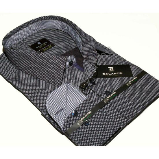 Balance apró mintás, normál galléros, karcsúsított hosszú ujjú ing, szürkéskék