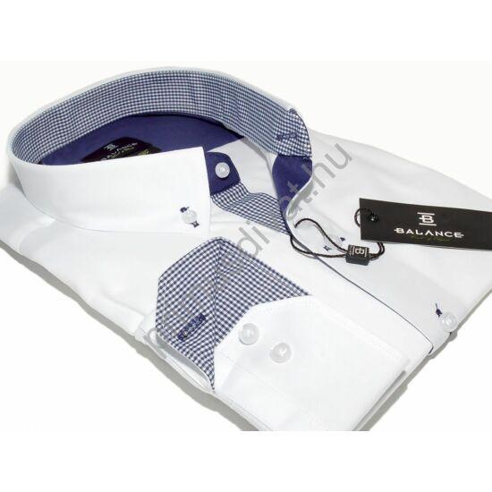 Balance legombolt galléros rugalmas, karcsúsított, slim fit hosszú ujjú ing, fehér kék betéttel