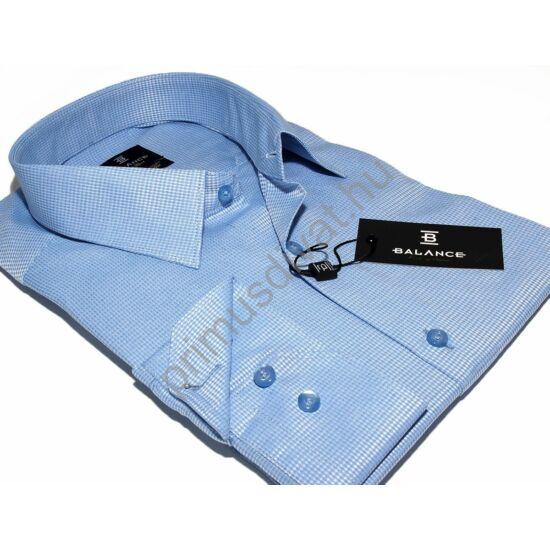 Balance hosszított fazonú, anyagában mintás, fényes felületű karcsúsított hosszú ujjú long fit ing, világoskék