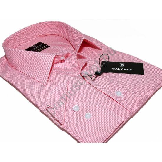 Balance szövött apró rózsaszín kockás, normál galléros, hosszú ujjú karcsúsított slim fit ing