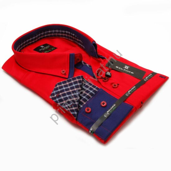 Balance dupla legombolt galléros, regular fit hosszú ujjú pamutszatén ing, piros-kék
