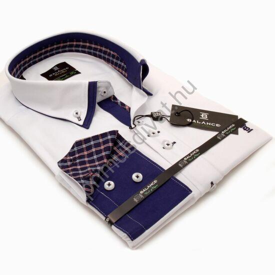 Balance dupla legombolt galléros, regular fit hosszú ujjú pamutszatén ing, fehér-kék
