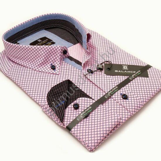 Balance legombolt galléros, nyomott mintás slim fit, karcsúsított hosszú ujjú ing, rózsaszín-kék