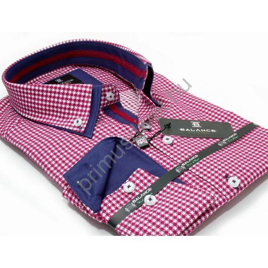 Balance piros-fehér kockás hosszú ujjú, karcsúsított long fit ing, dupla, legombolt gallérral