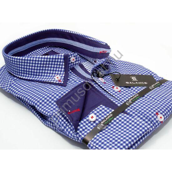Balance kék-fehér kockás hosszú ujjú, karcsúsított long fit ing, dupla, legombolt gallérral