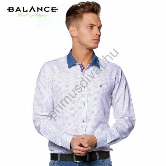 Balance farmergalléros, fehér alapon kék-piros apró mintás, karcsúsított casual ing