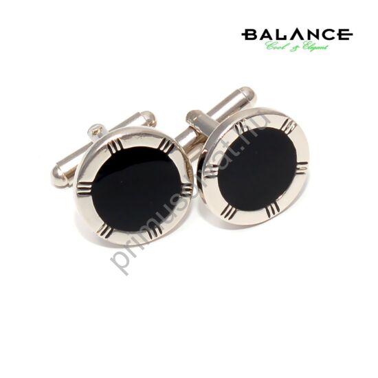 Balance fekete műgyanta betétes kerek acél mandzsettagomb