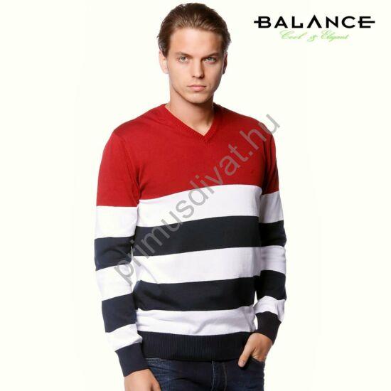 Balance V-nyakú, bordó-fehér-kék csíkos vékony kötött pamut pulóver