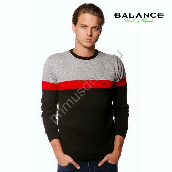 Balance környakas, vékony kötött piros csíkos szürke-fekete pamut pulóver