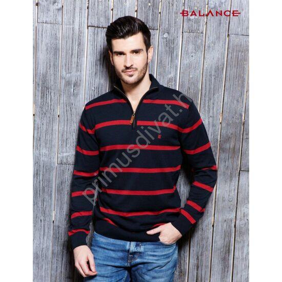 Balance cipzáras nyakú, kék-piros csíkos vékony kötött pamut pulóver