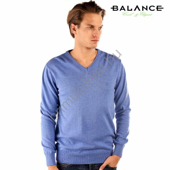 Balance vékony kötött V-nyakú pamut pulóver, kék-melange