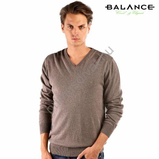 Balance vékony kötött V-nyakú pamut pulóver, barna-melange