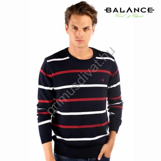 Balance környakas, piros-fehér csíkos kék vékony kötött pamut pulóver