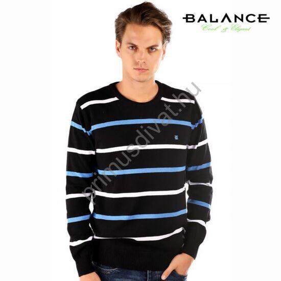 Balance környakas, kék-fehér csíkos fekete vékony kötött pamut pulóver
