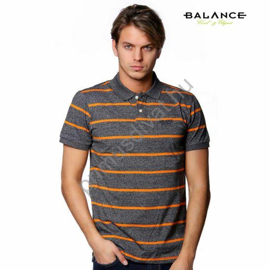 Balance galléros, gombos rövid ujjú póló, szürke melange alapon narancssárga csíkokkal