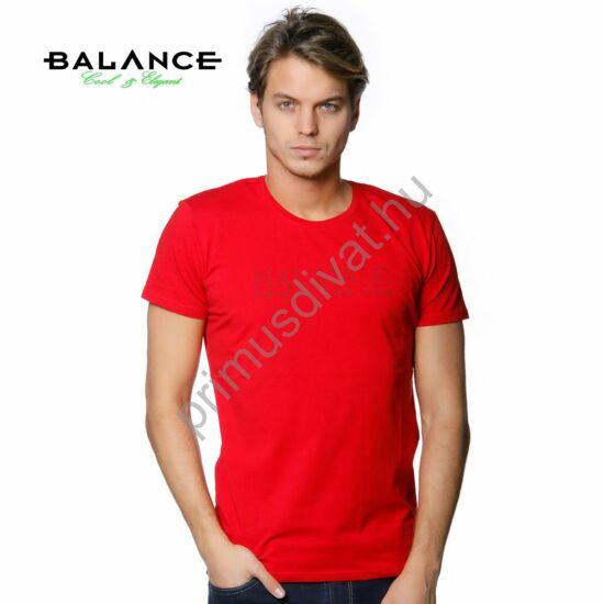 Balance rugalmas, környakas rövid ujjú póló, mellén márkafelirattal, piros