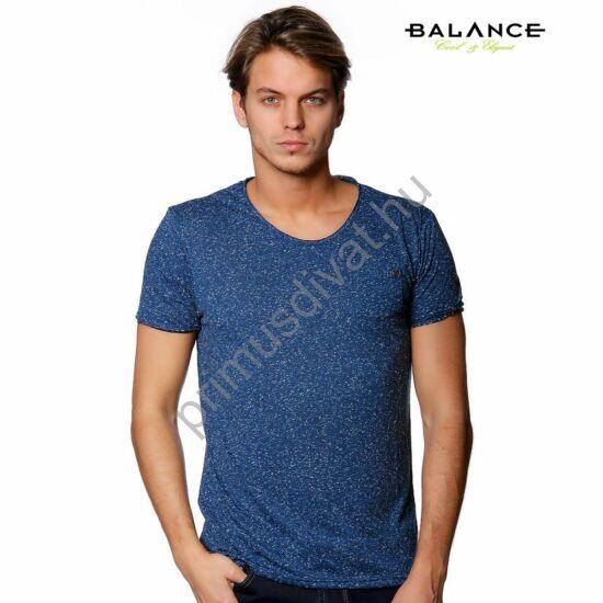 Balance kis zsebes, sötétkék melange anyagú rövid ujjú póló