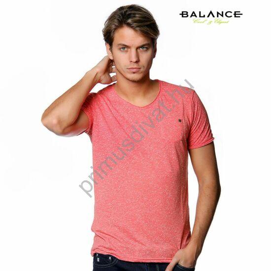 Balance kis zsebes, korall színű melange anyagú rövid ujjú póló