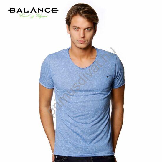 Balance kis zsebes, világoskék melange anyagú rövid ujjú póló
