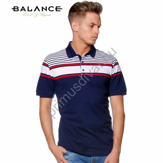 Balance piros-fehér csíkos sötétkék, galléros, gombos rövid ujjú piké póló