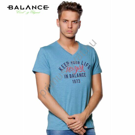 Balance V-nyakú, ringelt anyagú normál, egyenes szabású rövid ujjú póló, elején nyomott felirattal, világoskék