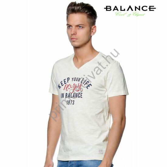 Balance V-nyakú, ringelt anyagú normál, egyenes szabású rövid ujjú póló, elején nyomott felirattal, törtfehér