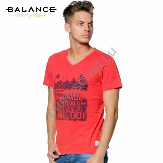 Balance V-nyakú, ringelt anyagú, normál, egyenes szabású, pálmafa mintás rövid ujjú póló, téglapiros
