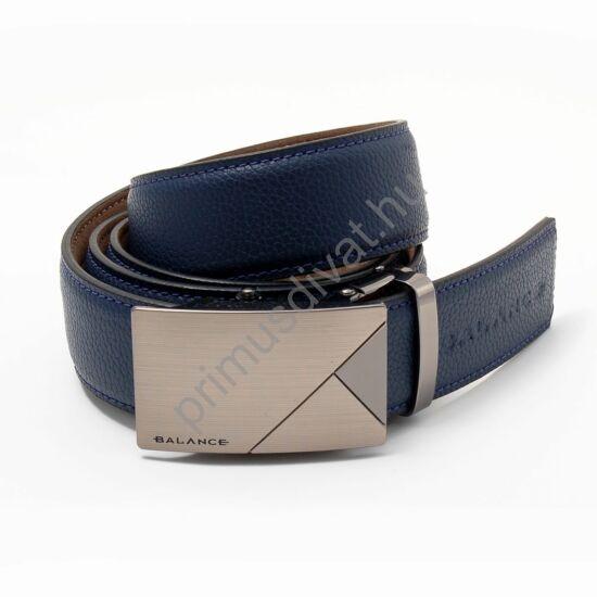 Balance racsnis záródású, csiszolt, gravírozott csatos, fém bujtatós, varrott kék-bőrszíjas öv