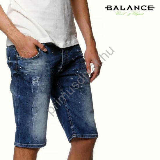 Balance rugalmas farmer rövidnadrág, kapart, festék fröcskölt felülettel