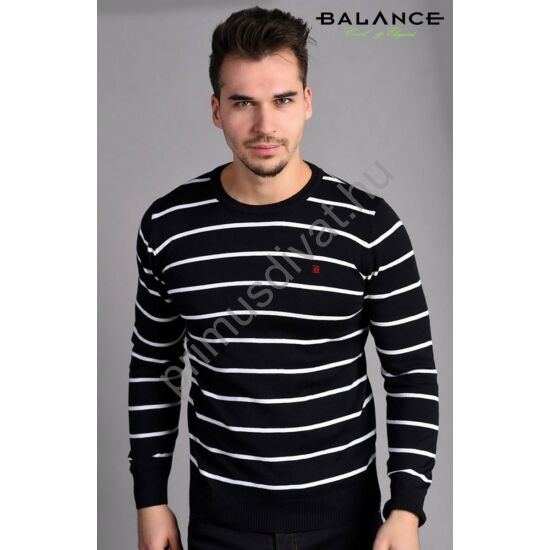 Balance környakas fehér csíkos sötétkék vékony kötött pamut pulóver