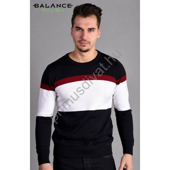 731b7bc240 Balance környakas bordó-fehér csíkos sötétkék vékony kötött pamut pulóver
