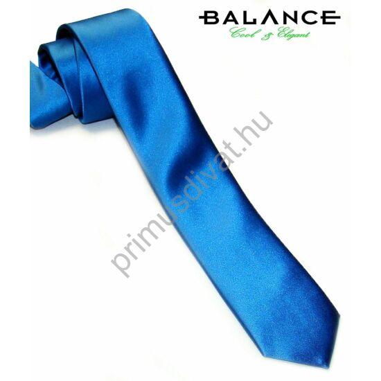 Balance keskeny királykék szatén nyakkendő, slim