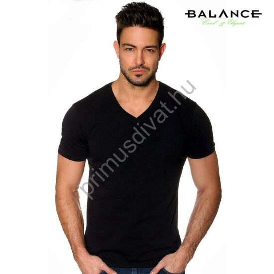 Balance V-nyakú, rugalmas anyagú rövid ujjú póló, ujján fém márkafelirattal, fekete