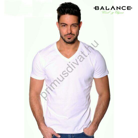 Balance V-nyakú, rugalmas anyagú rövid ujjú póló, ujján fém márkafelirattal, fehér
