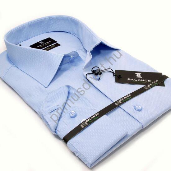 Balance anyagában szövött mintás világoskék karcsúsított, slim-fit hosszú ujjú alkalmi ing