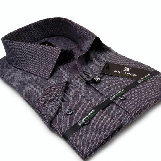 Balance anyagában szövött mintás egyszínű szürke hosszú ujjú slim-fit alkalmi ing