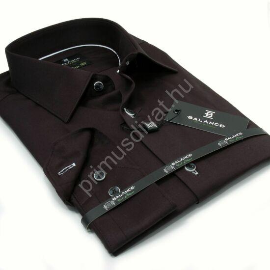 Balance normál galléros egyszínű fekete, rugalmas anyagú body-fit, pamutszatén hosszú ujjú ing