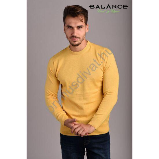 Balance vékony kötött környakas pamut pulóver, sárga melange