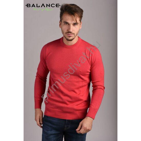 Balance vékony kötött környakas pamut pulóver, téglapiros-melange