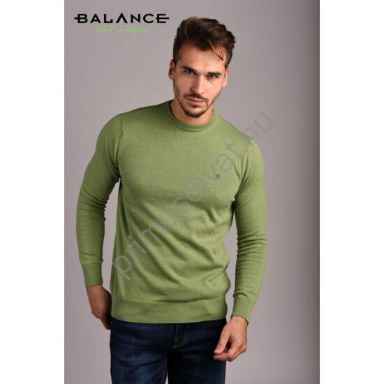 Balance vékony kötött környakas pamut pulóver, zöld-melange