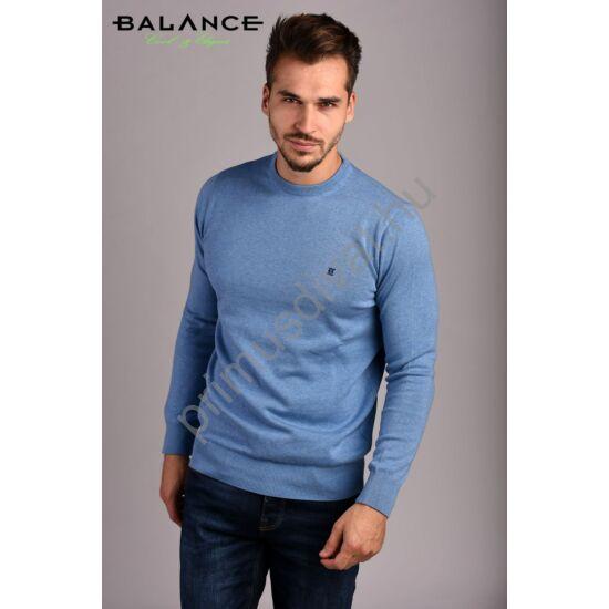 Balance vékony kötött környakas pamut pulóver, világoskék-melange