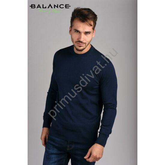 Balance vékony kötött környakas pamut pulóver, mélykék