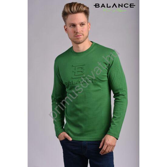Balance környakas hosszú ujjú pamut póló, dombornyomott márkafelirattal, fűzöld